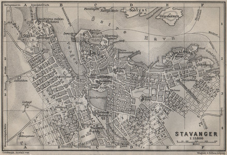 Associate Product STAVANGER antique town city byplan. Norway kart. BAEDEKER 1912 old map