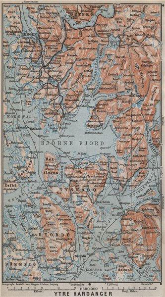 Associate Product OUTER HARDANGERFJORD topo-map. Bergen Stordo. Norway kart. BAEDEKER 1912