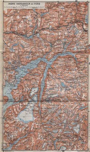Associate Product INNER HARDANGERFJORD topo-map. Folgefonna. Norway kart. BAEDEKER 1912 old