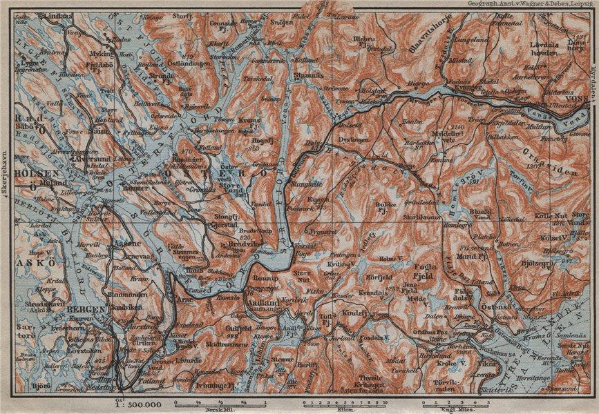 Associate Product BERGEN-VOSSVANGEN.Sørfjorden. Topo-map. Norway kart. BAEDEKER 1912 old