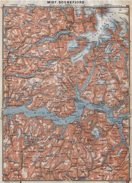 Associate Product CENTRAL SOGNEFJORD topo-map. Leikanger Sogndal. Norway kart. BAEDEKER 1912