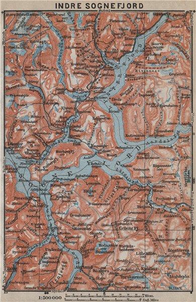 Associate Product INNER SOGNEFJORD topo-map. Gaupne Luster Ardalstangen. Norway kart 1912
