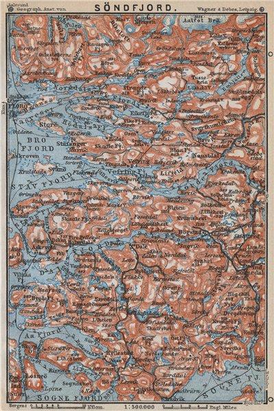Associate Product SOGN OG FJORDANE. Sondfjord Söndfjord. Floro. Topo-map. Norway kart 1912