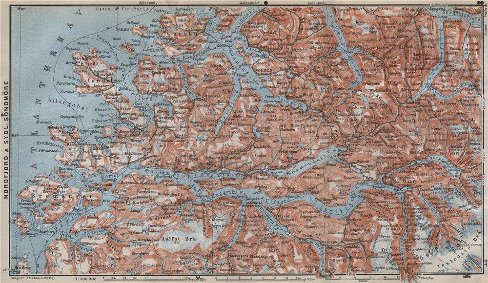 Associate Product NORDFJORD & SOUTHERN SONDMERE/Sunnmøre topo-map. Gloppen Volda. Norway 1912
