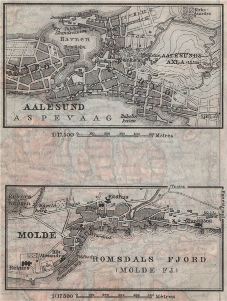 Associate Product ALESUND & MOLDE antique town city byplans. Norway kart. BAEDEKER. SMALL 1912 map