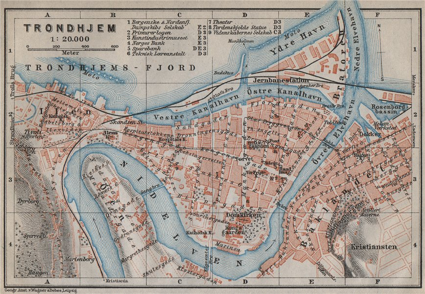 Associate Product TRONDHEIM Trondhjem antique town city byplan & environs. Norway kart 1912 map