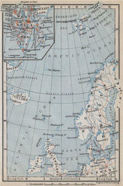 NORTHERN EUROPE. Norwegian Sea. Arctic Ocean. Spitsbergen. Scandinavia 1912 map