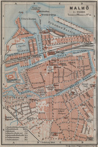 Associate Product MALMO & LUND Malmö antique town city stadsplans. Sweden karta 1912 old map