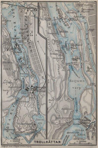 TROLLHATTAN FALLS. Trollhättan. Topo-map. Sweden karta. BAEDEKER 1912 old