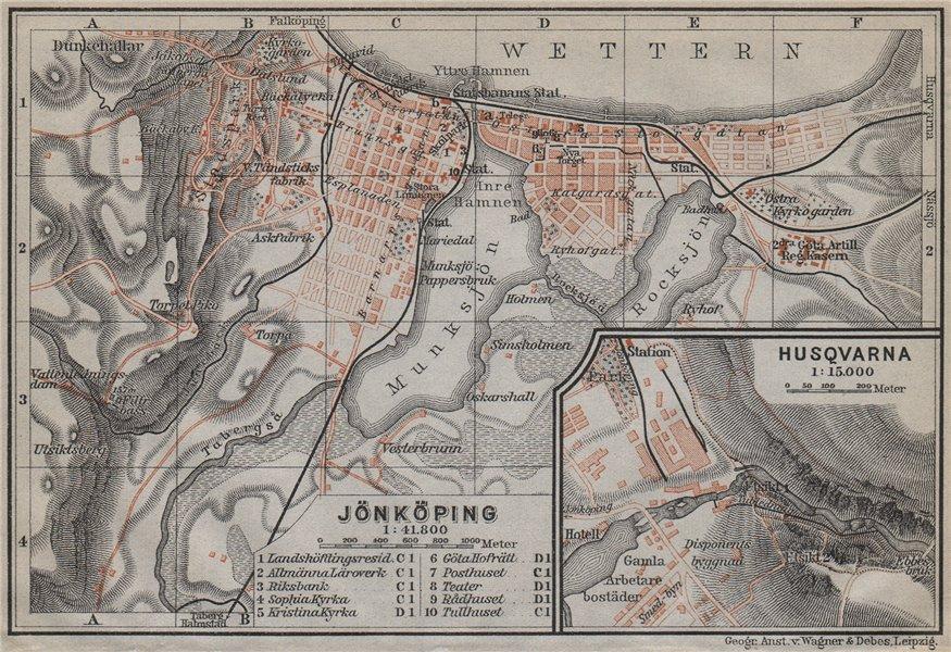 Associate Product JONKOPING Jönköping town city stadsplan. Inset Huskvarna. Sweden karta 1912 map
