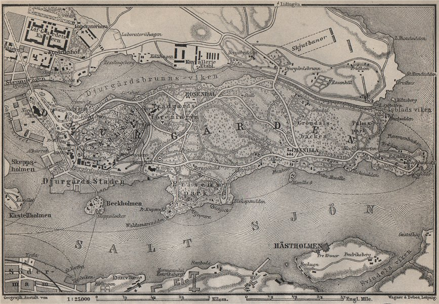 Associate Product DJURGARDEN Djurgården. Stockholm. Sweden karta. BAEDEKER 1912 old antique map