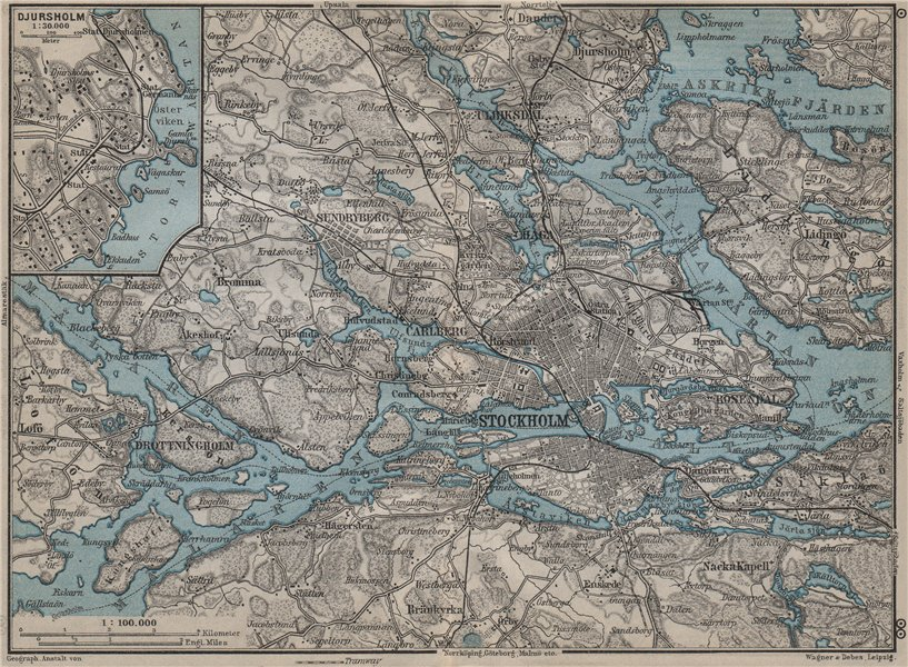 Associate Product STOCKHOLM ENVIRONS. Stockholms Omgifningar. Sweden karta. BAEDEKER 1912 map