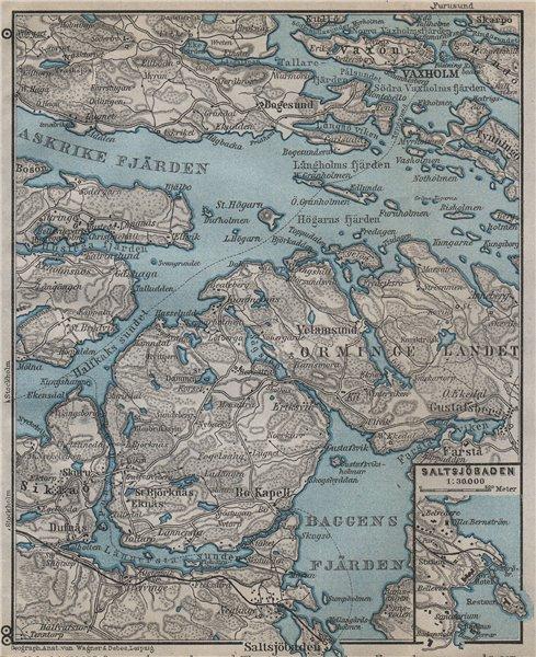 Associate Product STOCKHOLM EAST ENVIRONS. Saltsjöbaden Molna Vaxholm. Topo-map. Sweden 1912
