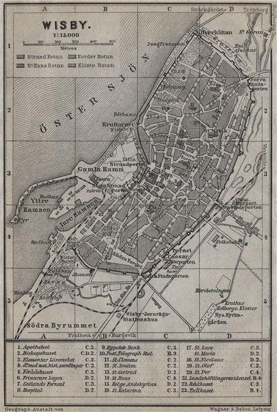 Associate Product VISBY Wisby antique town city stadsplan. Sweden karta. BAEDEKER 1912 old map