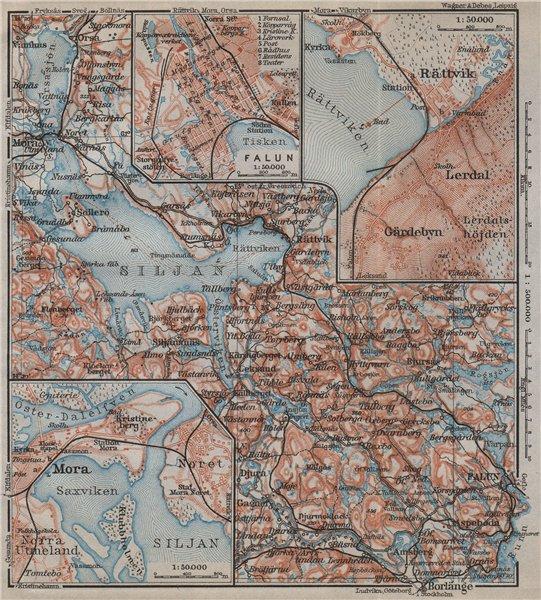 Associate Product LAKE SILJAN REGION. Rättvik Falun Mora town plans. Sweden karta 1912 old map