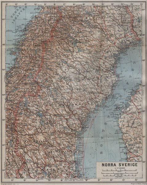 Associate Product NORTHERN SWEDEN. Norra Sverige karta. BAEDEKER 1912 old antique map plan chart