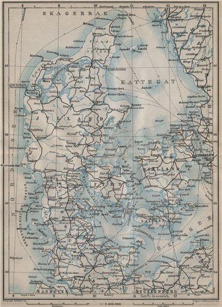 Associate Product DENMARK AND SLESVIG. Schleswig-Holstein. Railways kort. BAEDEKER 1912 old map