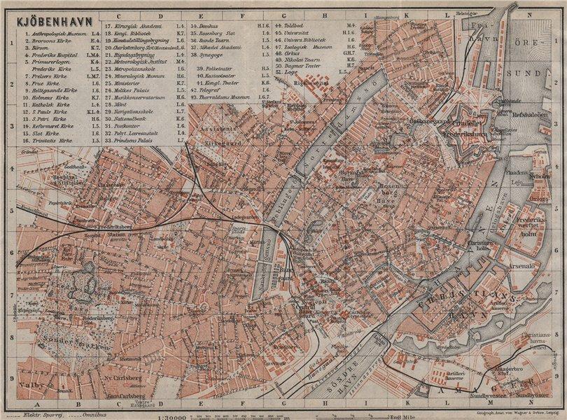Associate Product COPENHAGEN København Kobenhavn antique town city byplan. Denmark kort 1912 map