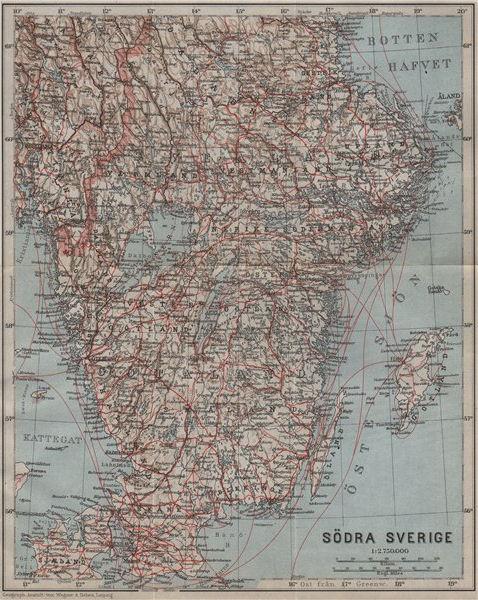 Associate Product SOUTHERN SWEDEN. Södra Sverige karta. BAEDEKER 1912 old antique map plan chart