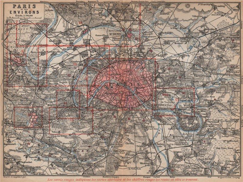 Associate Product PARIS ET SES ENVIRONS. St-Germain-en-Laye Versailles St Cloud carte 1898 map