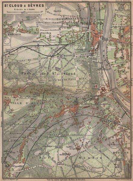 Associate Product ST. CLOUD & SÈVRES environs. Bois de Meudon. Garches. Hauts-de-Seine 1898 map