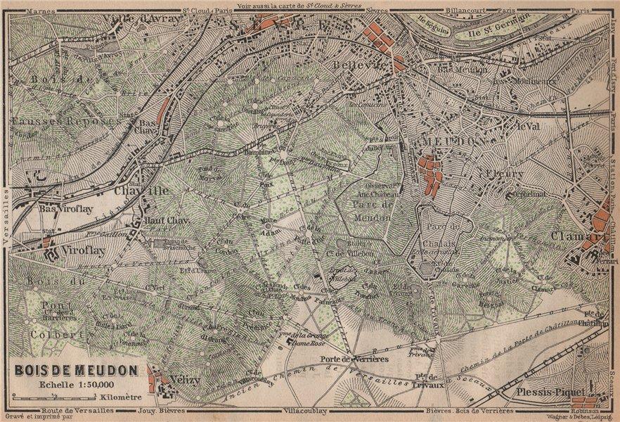 Associate Product BOIS DE MEUDON environs. Sèvres Clamart. Hauts-de-Seine carte 1898 old map