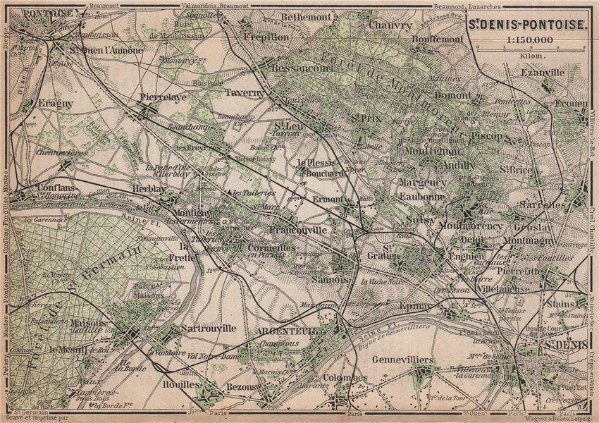 Associate Product ST DENIS PONTOISE environs. Argenteuil Foret de Montmorency Val-d'Oise 1898 map