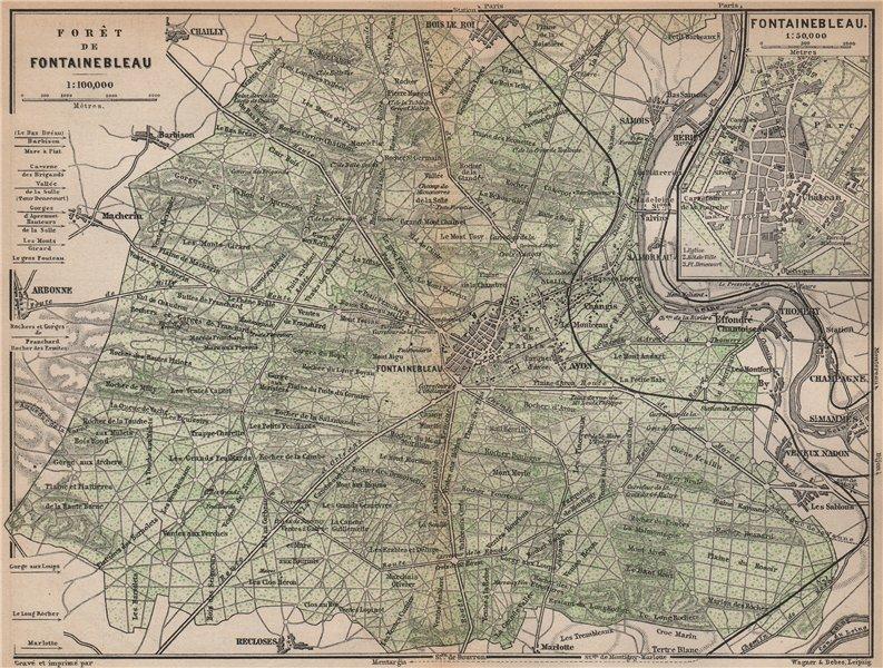 Associate Product FORÊT DE FONTAINEBLEAU & town plan. Topo-map. Seine-et-Marne carte 1898
