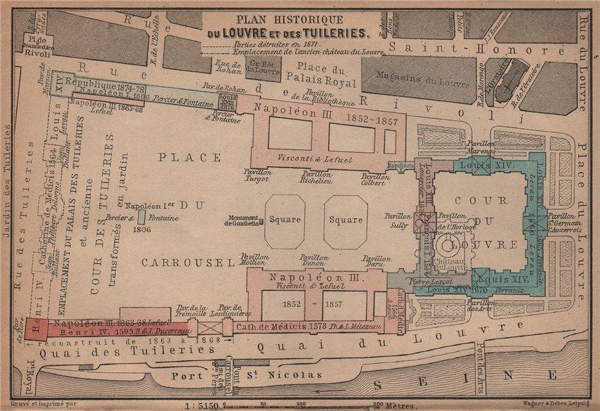 Associate Product LOUVRE & TUILERIES. Plan historique. Historic development. Paris 1er 1900 map