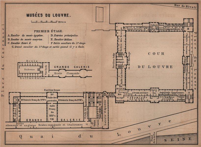 Associate Product MUSÉES DU LOUVRE; PREMIER ÉTAGE First floor plan. Paris carte 1900 old map