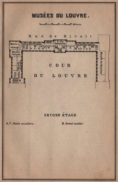 Associate Product MUSÉES DU LOUVRE; SECOND ÉTAGE Second floor plan. Paris carte 1900 old map