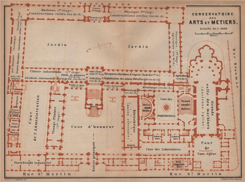 CONSERVATOIRE DES ARTS ET METIERS floor plan. Paris carte. BAEDEKER 1900 map
