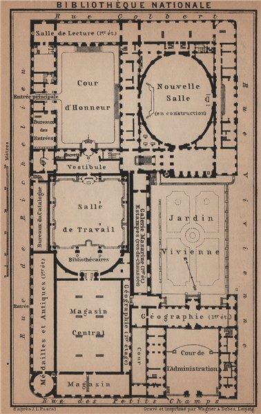 Associate Product BIBLIOTHÈQUE NATIONALE DE FRANCE floor plan. Richelieu site. Paris 1900 map