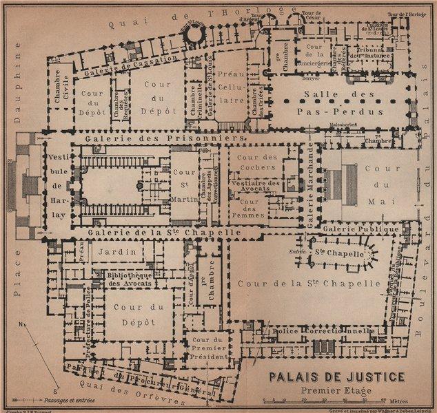 Associate Product PALAIS DE JUSTICE premier étage/first floor plan. Île de la Cité Paris 1900 map