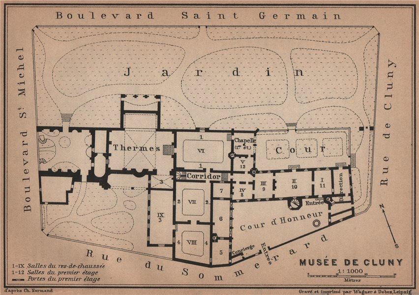 Associate Product Musée national du Moyen Âge Thermes & hôtel de Cluny floor plan. Paris 1900 map