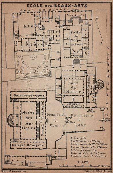 Associate Product ÉCOLE ECOLE DES BEAUX-ARTS floor plan. 14 rue Bonaparte, Paris 6e 1900 old map