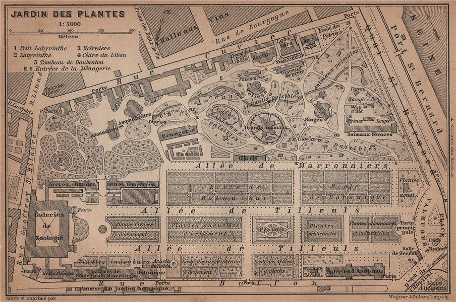 Associate Product JARDIN DES PLANTES ground plan. Paris 5e carte. BAEDEKER 1900 old antique map