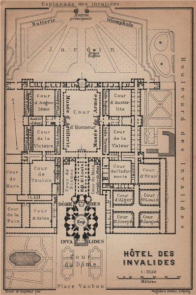 Associate Product HÔTEL DES INVALIDES floor plan. Paris 7e carte. BAEDEKER 1900 old antique map