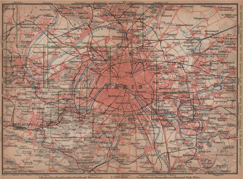 Associate Product PARIS ET SES ENVIRONS. St-Germain-en-Laye Versailles St Cloud carte 1900 map