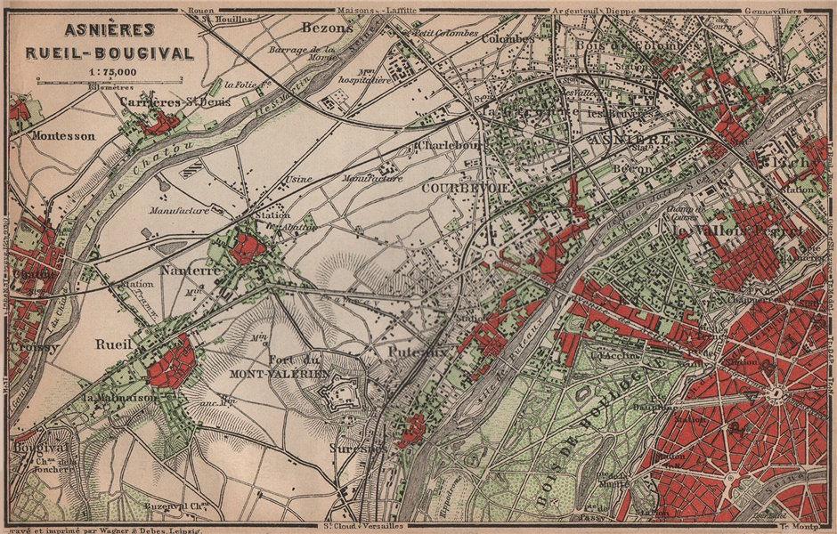 Associate Product ASNIÈRES RUEIL-MALMAISON Nanterre Neuilly Courbevoie. Hauts-de-Seine 1900 map