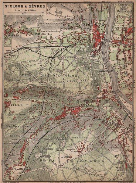Associate Product ST. CLOUD & SÈVRES environs. Bois de Meudon. Garches. Hauts-de-Seine 1900 map