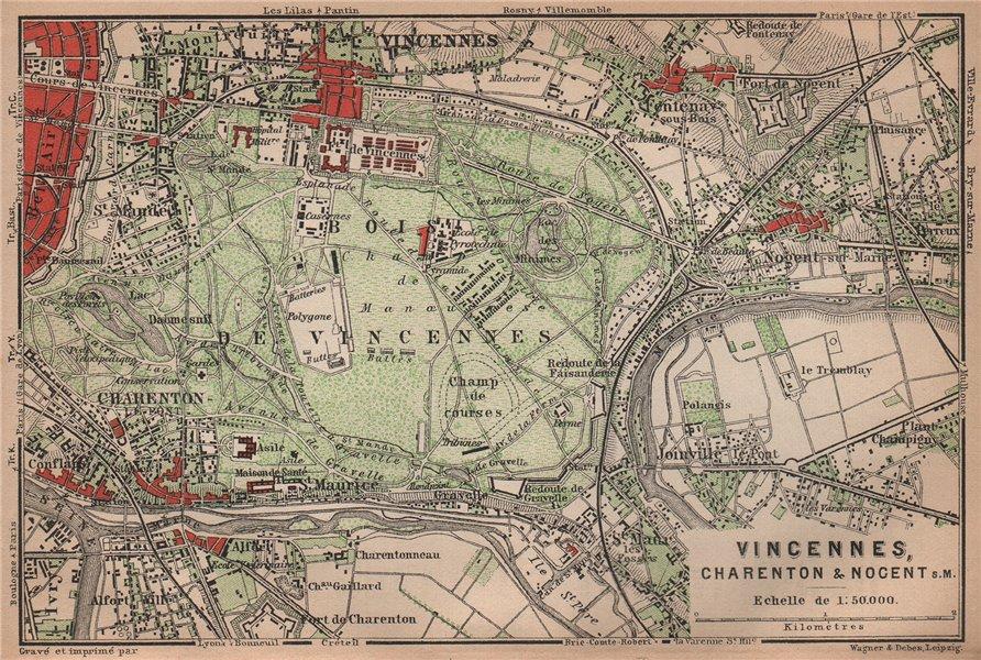 Associate Product BOIS DE VINCENNES. Charenton Nogent-sur-Marne Joinville. Val-de-Marne 1900 map