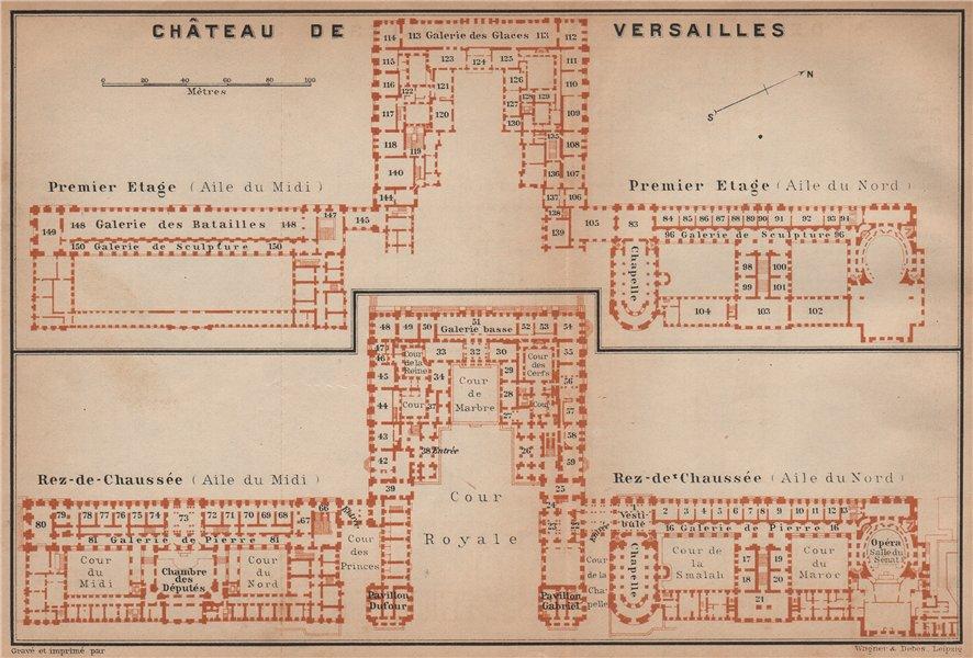 Associate Product CHÂTEAU DE VERSAILLES; PREMIER ETAGE & REZ-DE-CHAUSSÉE floor plans 1900 map