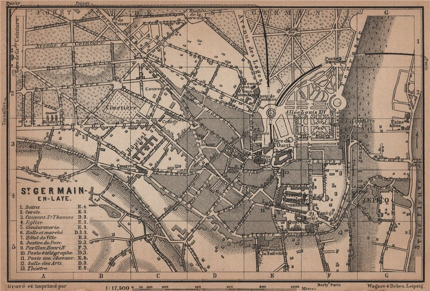 Associate Product ST. GERMAIN-EN-LAYE town city plan de la ville. Yvelines. Paris carte 1900 map