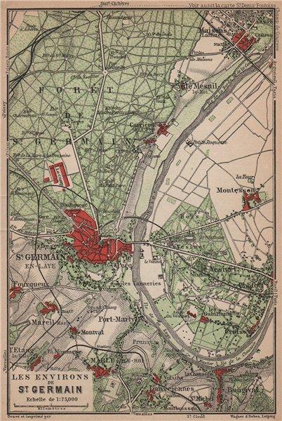 Associate Product ST-GERMAIN-EN-LAYE & environs. Marly-le-Roi Forêt Vesinet. Yvelines 1900 map