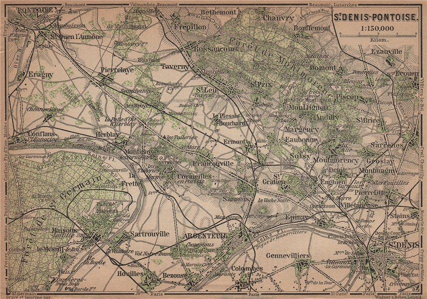Associate Product ST DENIS PONTOISE environs. Argenteuil Foret de Montmorency Val-d'Oise 1900 map