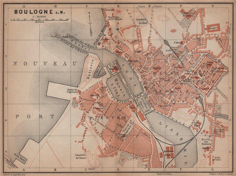 Associate Product BOULOGNE-SUR-MER town city plan de la ville. Pas-de-Calais carte 1900 old map