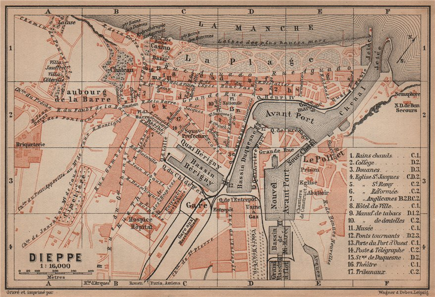 Associate Product DIEPPE antique town city plan de la ville. Seine-Maritime carte 1900 old map