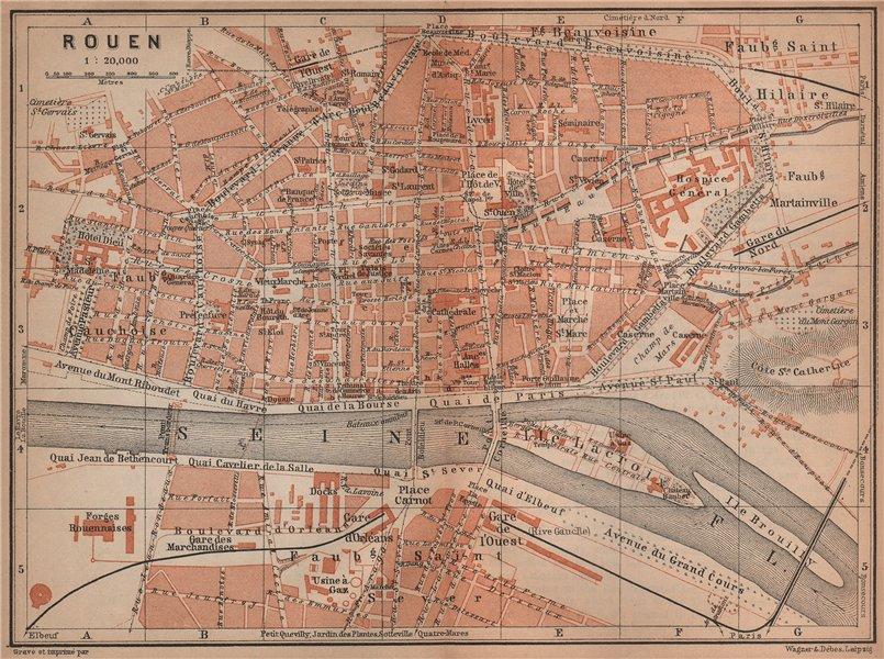 Associate Product ROUEN antique town city plan de la ville. Seine-Maritime carte 1900 old map