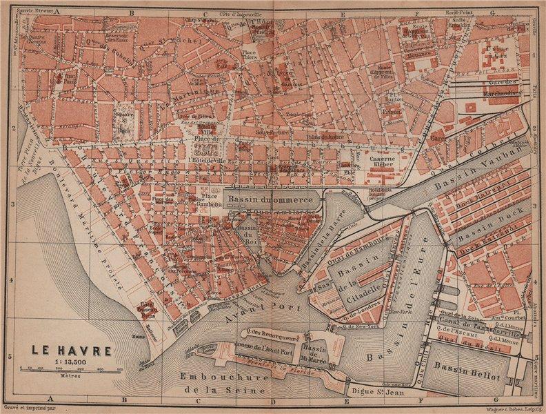 Associate Product LE HAVRE antique town city plan de la ville. Seine-Maritime carte 1900 old map